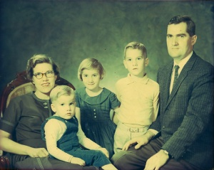Meyer family, 1982.  Shane is pictured second from right.