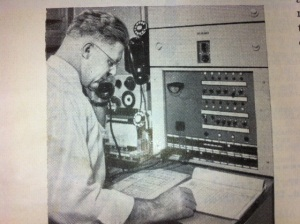 Testman probes device inside a rural radio tower.