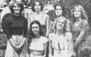 PYRAMID GIRLS- On their knees, Belle Zuvella, Claudette Washington.  Standing-