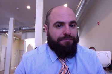 Dr. Kevin Thurston, expert in men's feelings, shortly before he fell on his wrist.