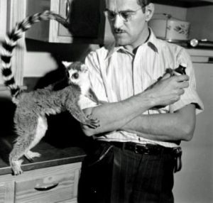 Fritz Malone with a lemur.
