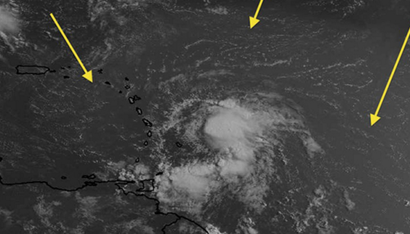 Visible satellite imagery showing the trash storm nearing the Lankville coast.